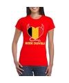 Rood belgie rode duivels hart shirt dames