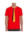 Rood t shirt met belgie vlag stropdas heren
