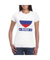 Rusland hart vlag t shirt wit dames