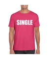 Single vrijgezel tekst t shirt roze heren