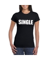 Single vrijgezel tekst t shirt zwart dames