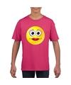 Smiley t shirt diva roze kinderen