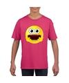 Smiley t shirt geschrokken roze kinderen