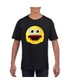 Smiley t shirt geschrokken zwart kinderen