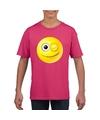 Smiley t shirt knipoog roze kinderen