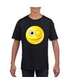 Smiley t shirt knipoog zwart kinderen