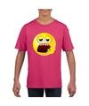 Smiley t shirt moe roze kinderen