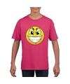 Smiley t shirt ondeugend roze kinderen