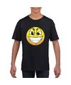 Smiley t shirt ondeugend zwart kinderen