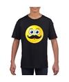 Smiley t shirt snor zwart kinderen