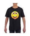 Smiley t shirt super verliefd zwart kinderen