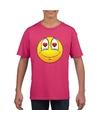 Smiley t shirt verliefd roze kinderen