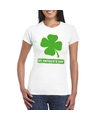 St patricksday klavertje t shirt wit dames