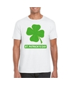 St patricksday klavertje t shirt wit heren