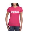 Stoeipoes tekst t shirt roze dames