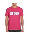 Stoer tekst t shirt roze heren