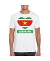 Suriname hart vlag t shirt wit heren