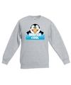 Sweater grijs voor kinderen met mister cool de pinguin