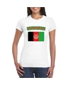 T shirt met afghaanse vlag wit dames
