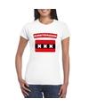 T shirt met amsterdamse vlag wit dames