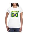 T shirt met braziliaanse vlag wit dames