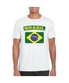 T shirt met braziliaanse vlag wit heren
