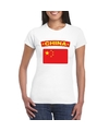 T shirt met chinese vlag wit dames