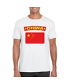 T shirt met chinese vlag wit heren