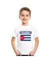 T shirt met cubaanse vlag wit kinderen