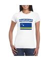 T shirt met curacaose vlag wit dames