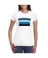 T shirt met estlandse vlag wit dames