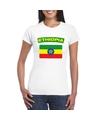 T shirt met ethiopische vlag wit dames