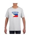 T shirt met filipijnse vlag wit kinderen