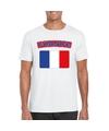T shirt met franse vlag wit heren