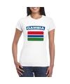 T shirt met gambiaanse vlag wit dames