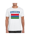 T shirt met gambiaanse vlag wit heren