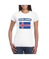 T shirt met ijslandse vlag wit dames