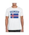T shirt met ijslandse vlag wit heren