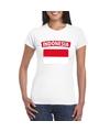 T shirt met indonesische vlag wit dames