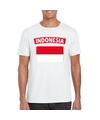T shirt met indonesische vlag wit heren