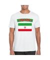 T shirt met iraanse vlag wit heren