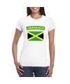 T shirt met jamaicaanse vlag wit dames