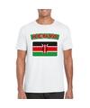 T shirt met keniaanse vlag wit heren