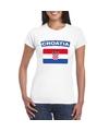 T shirt met kroatische vlag wit dames