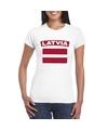T shirt met letlandse vlag wit dames