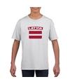 T shirt met letlandse vlag wit kinderen