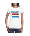 T shirt met luxemburgse vlag wit dames