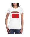 T shirt met marokkaanse vlag wit dames