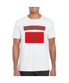 T shirt met marokkaanse vlag wit heren