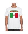 T shirt met mexicaanse vlag wit heren